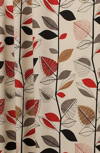 Autumn Leaves Red Berry Made To Measure Curtains