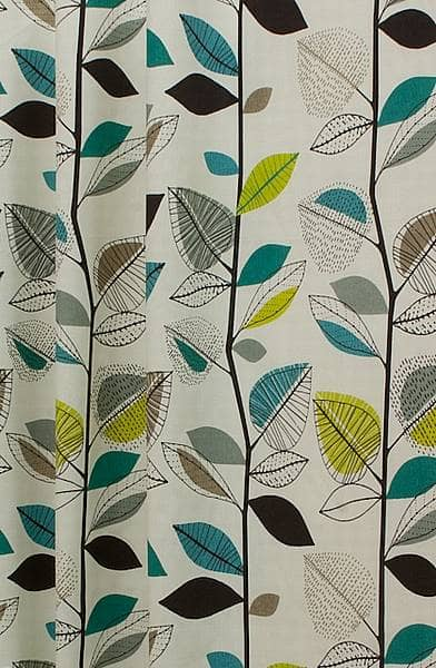 Autumn Leaves Teal Curtain Fabric