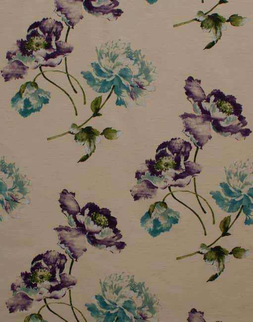 Ayre Plum Amp Teal Curtain Fabric