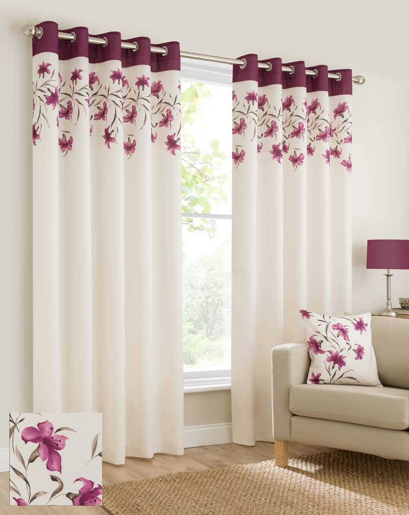 Lily Purple Ready Made Curtains