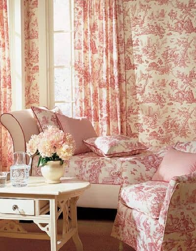 by red beige waverly black toile and valance curtains fabric