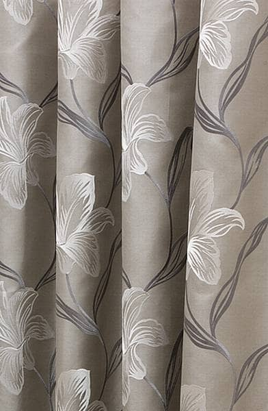 Melano Silver White Curtain Fabric