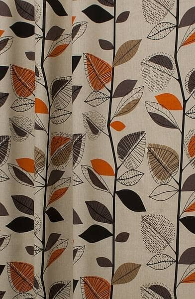 Autumn Leaves Amber Curtain Fabric