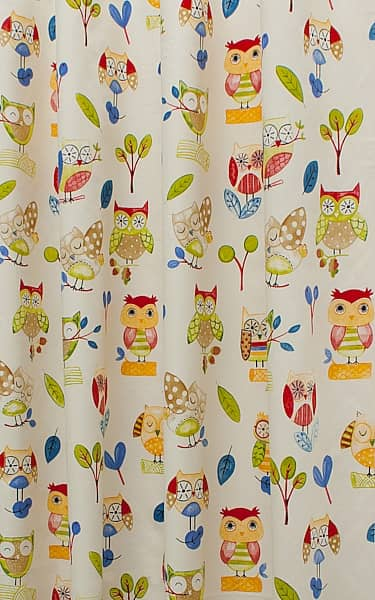 Ollie Owl Paintbox Curtain Fabric