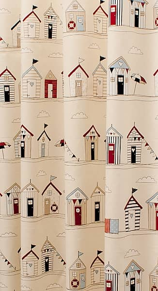 Beach Huts Blue Made to Measure Curtains