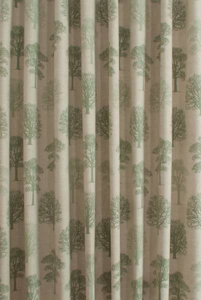 Trees Soft Green Curtain Fabric