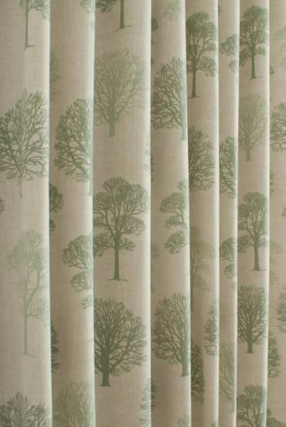 Trees Soft Green Made To Measure Curtains