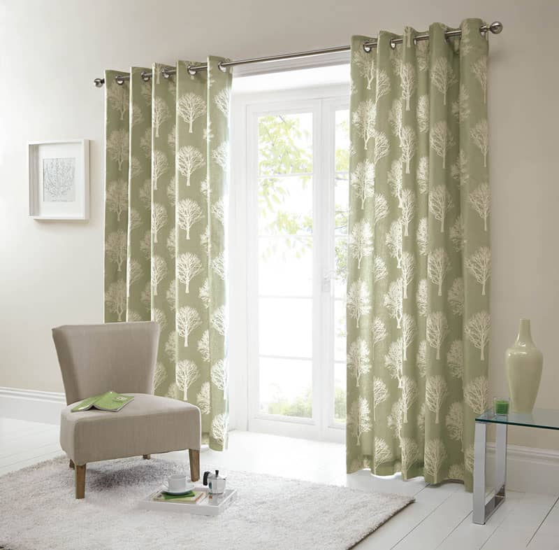 Woodland Trees Green Ready Made Curtains