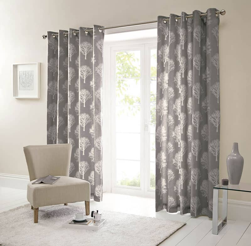 Woodland Trees Charcoal Ready Made Curtains