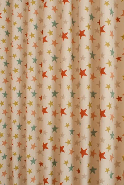 Funky star coral curtain fabric for Star material for curtains