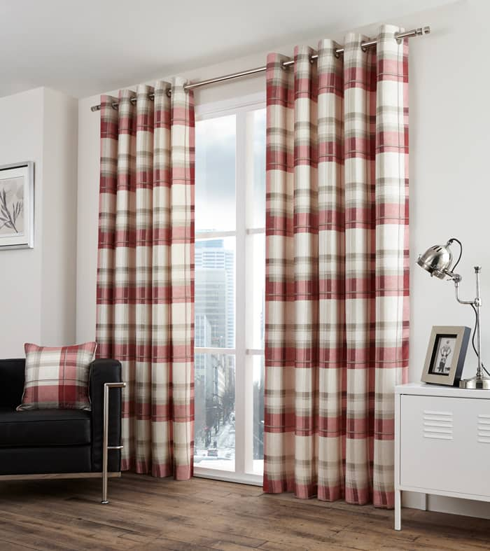Balmoral Check Ruby Ready Made Curtains