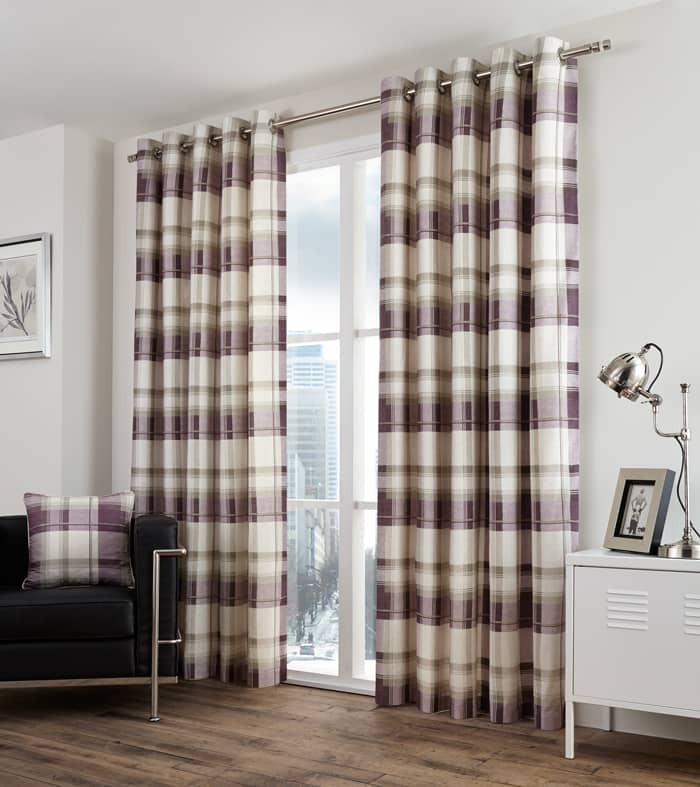 Balmoral Check Plum Ready Made Curtains