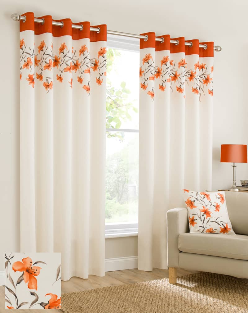 Lily Orange Ready Made Curtains