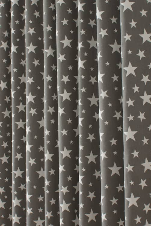 Apollo Stars Dark Grey Curtain Fabric
