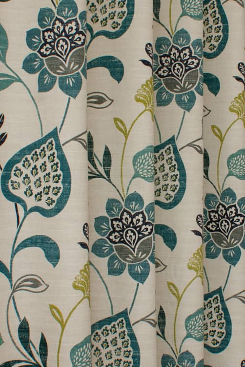 Honduras Teal Navy Roman Blinds