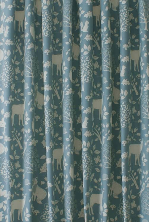 Woodland Duck Egg Curtain Fabric