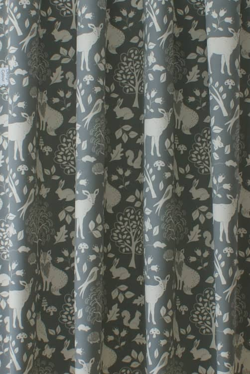 Woodland Charcoal Curtain Fabric