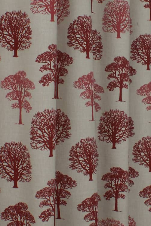 Trees Red Curtain Fabric