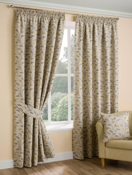 Oakley Ochre Ready Made Curtains