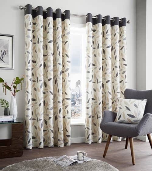 Beechwood Charcoal Ready Made Curtains