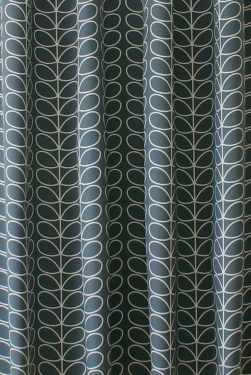 Linear Stem Cool Grey Curtain Fabric