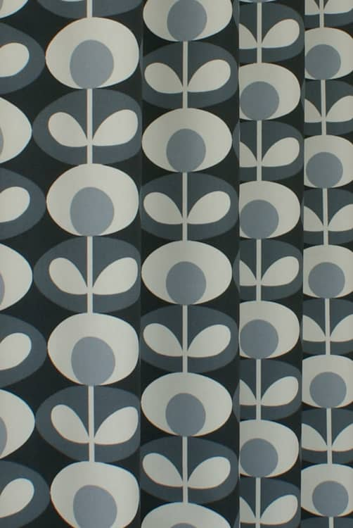 Oval Flower Cool Grey Roman Blinds