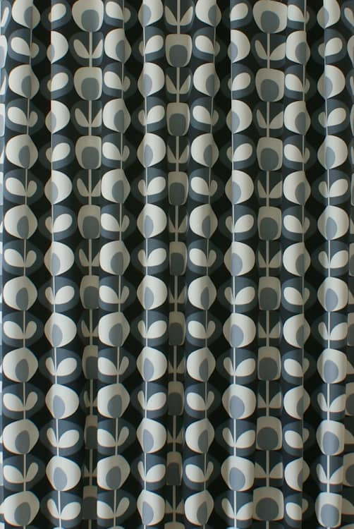 Oval Flower Cool Grey Curtain Fabric