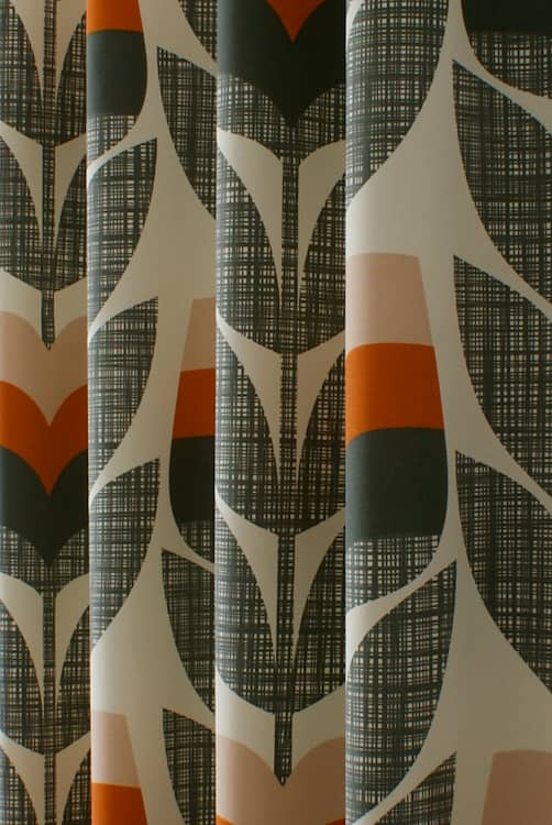 Rosebud Orange Curtain Fabric