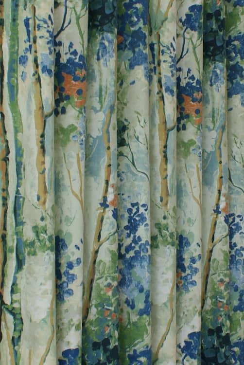 Silver Birch Sapphire Curtain Fabric