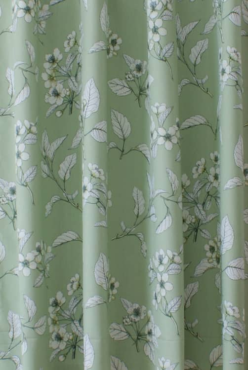 Cherry Blossom Kale Curtain Fabric