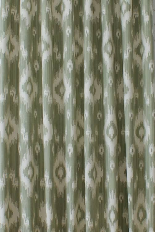 Ikat Soft Green Curtain Fabric
