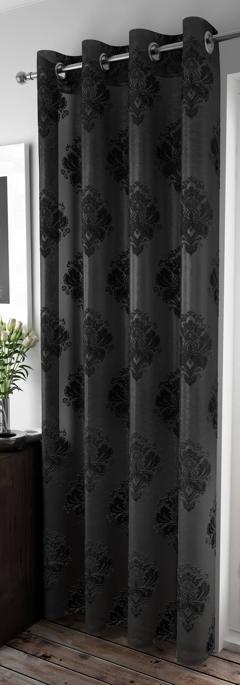 Anika Black Voiles & Voile Panels