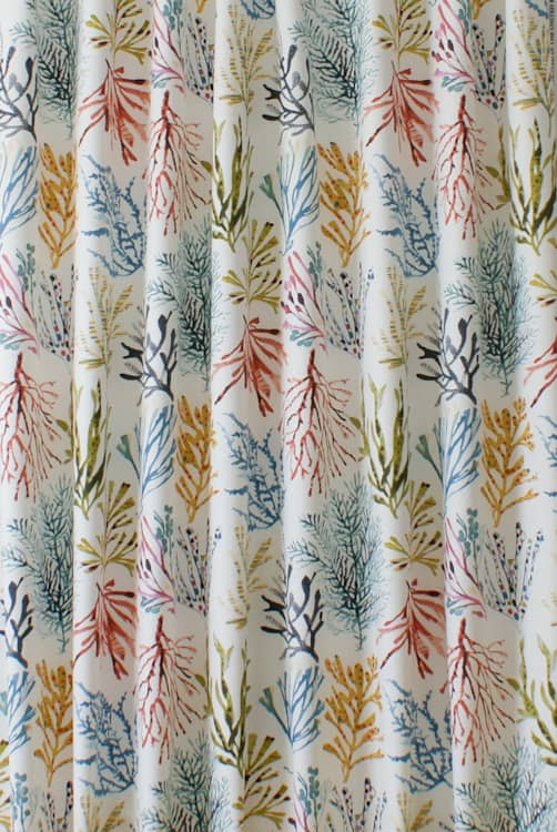 Coral Tropical Curtain Fabric