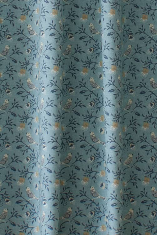 Birdsong Blue Curtain Fabric