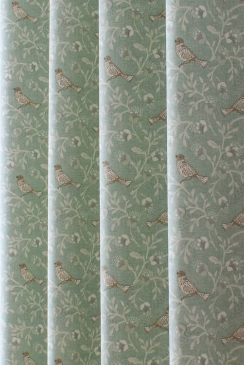 Birdsong Duck Egg Curtain Fabric