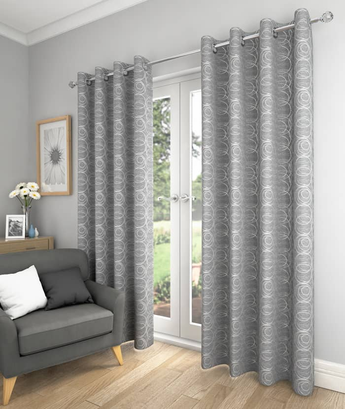 Saturn Silver Ready Made Curtains