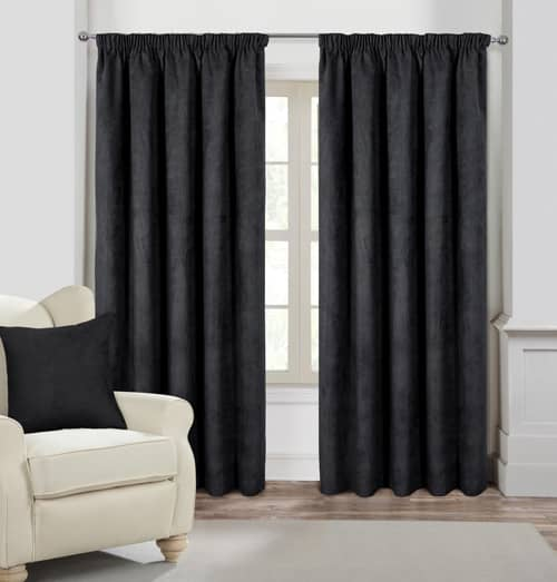 Faux Suede Pencil Dark Navy/Black Ready Made Curtains