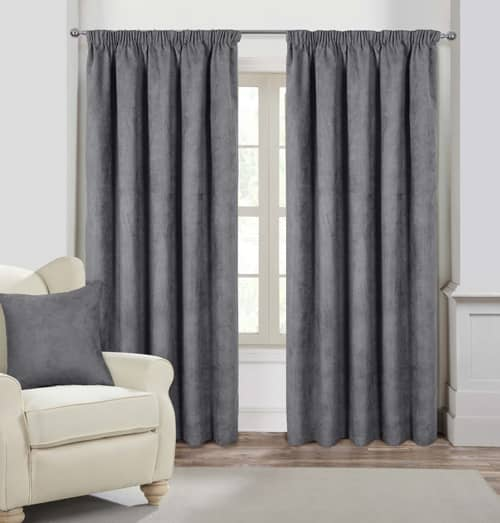 Faux Suede Pencil Silver Ready Made Curtains