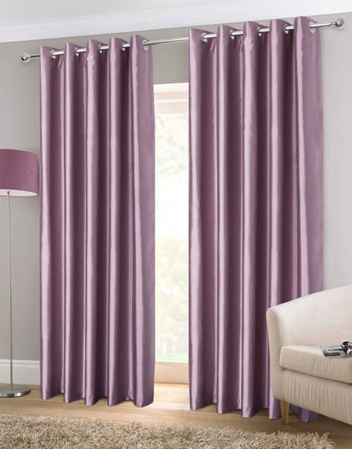 Faux Silk Eyelet Heather Ready Made Curtains