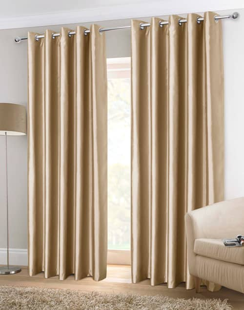 Faux Silk Eyelet Mink Ready Made Curtains