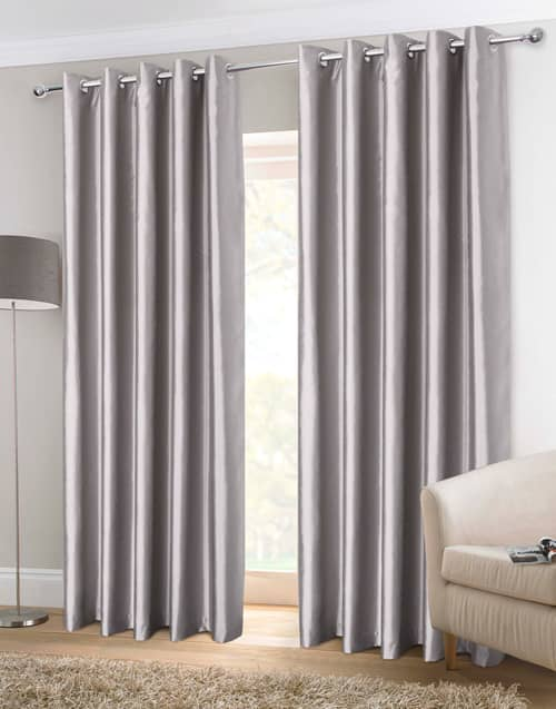 Faux Silk Eyelet Silver Ready Made Curtains