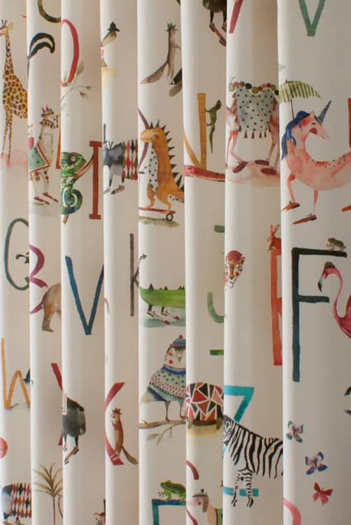 Animal Alphabet Fudge Curtain Fabric
