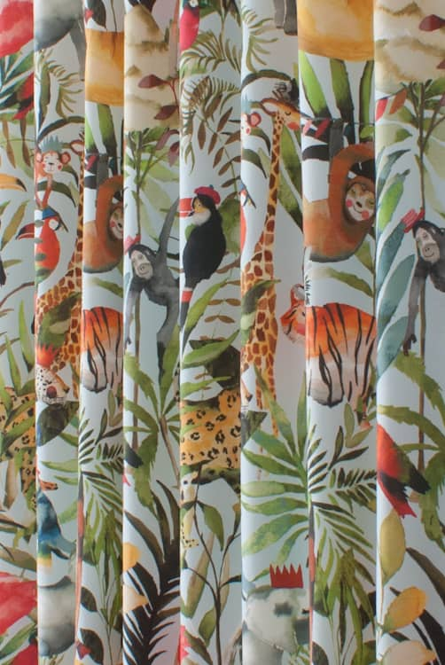 King of the Jungle Waterfall Curtain Fabric