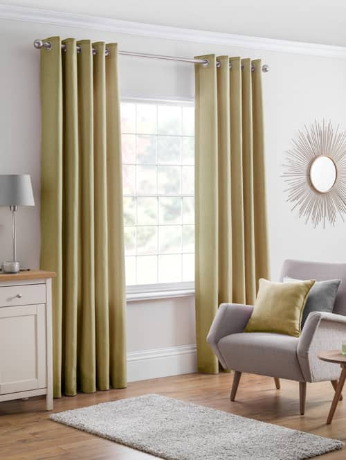Versailles eyelet Ochre Ready Made Curtains