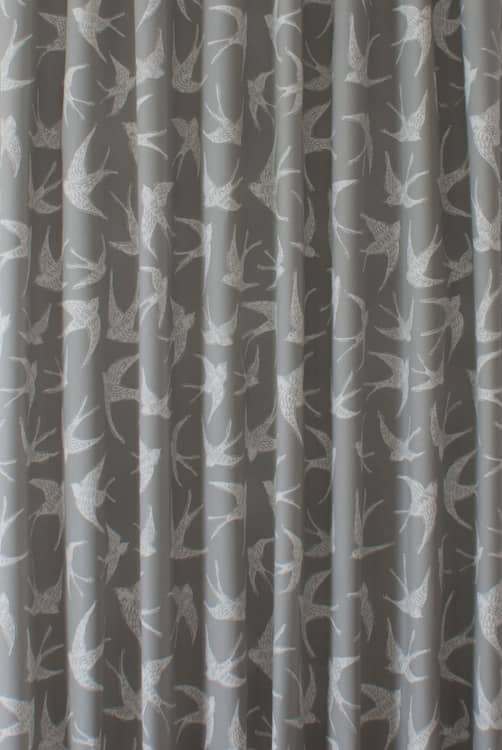 Fly Away Grey Curtain Fabric