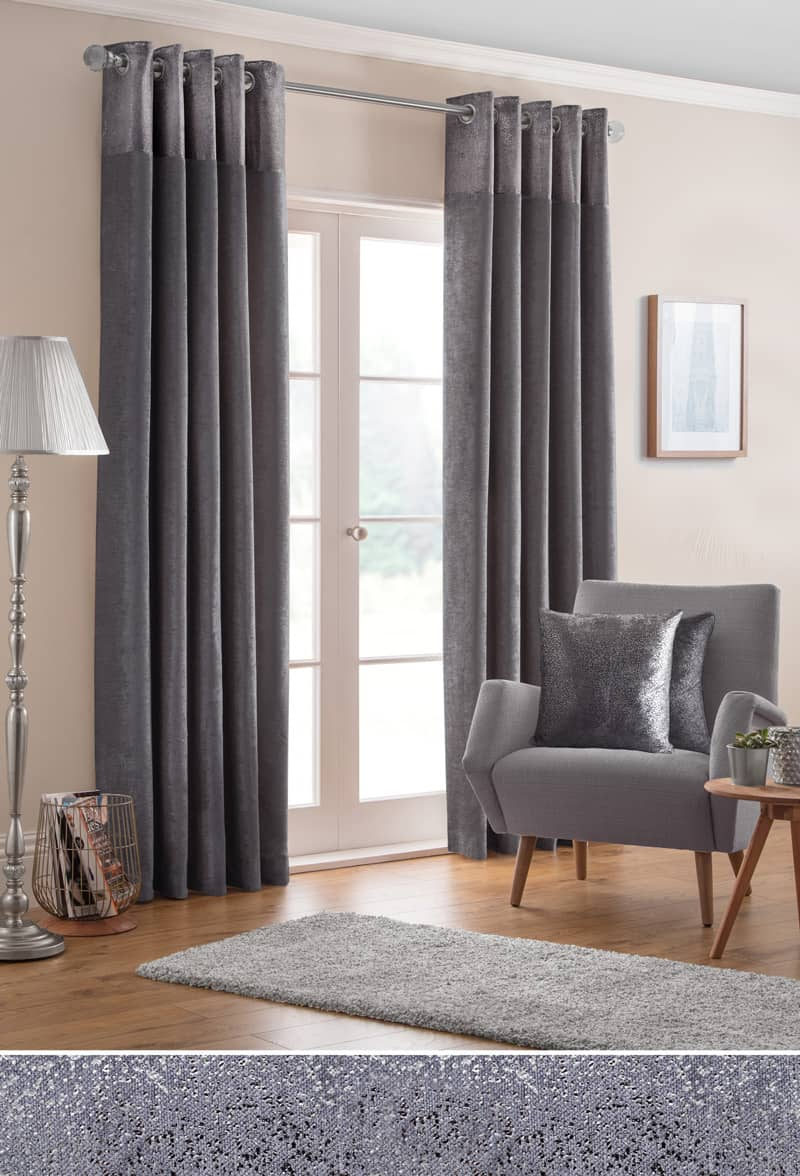 Nova Pewter Ready Made Curtains