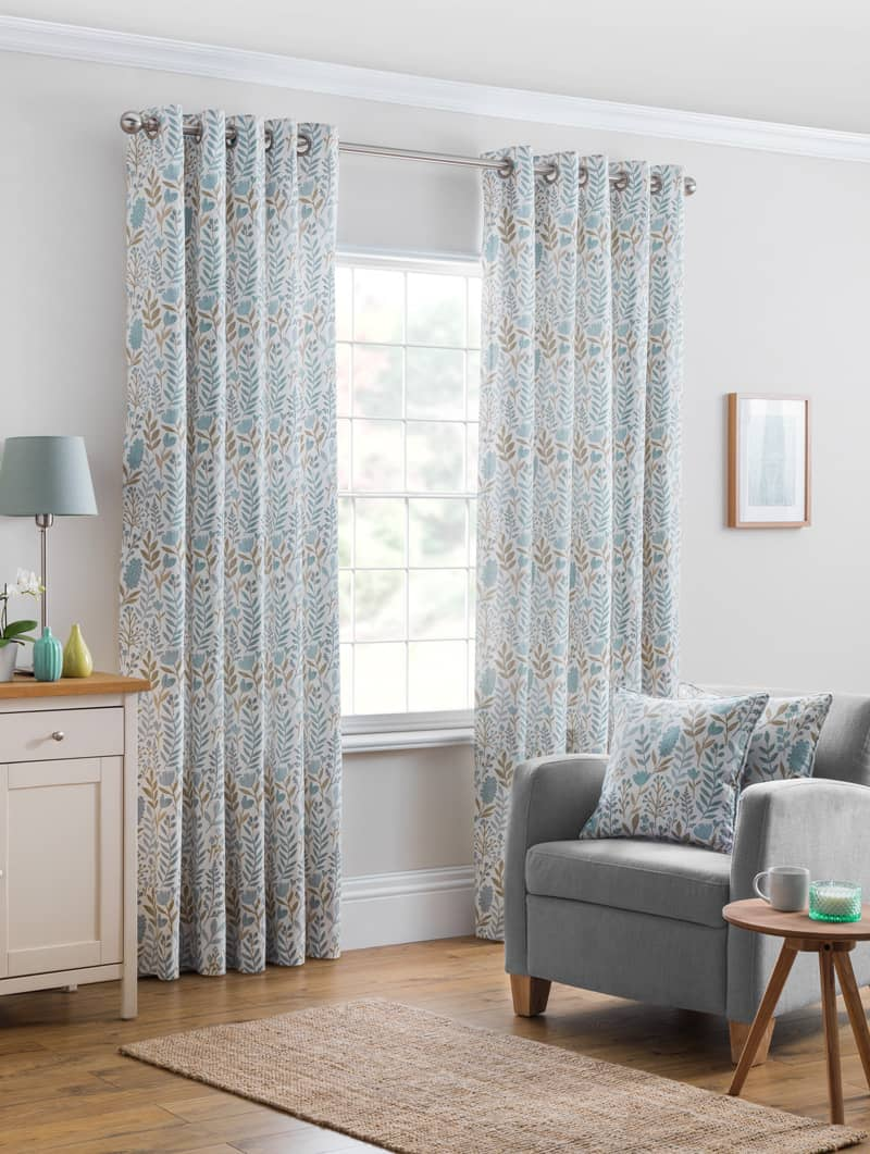 Everley Azure Ready Made Curtains