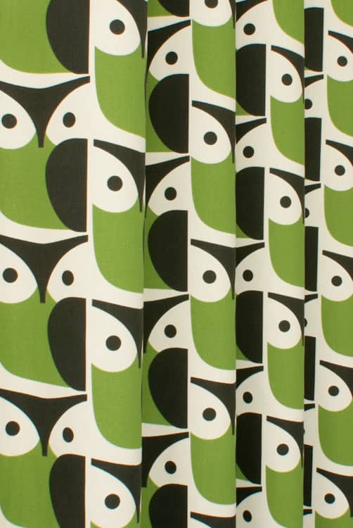 Owl Chalky Green Curtain Fabric