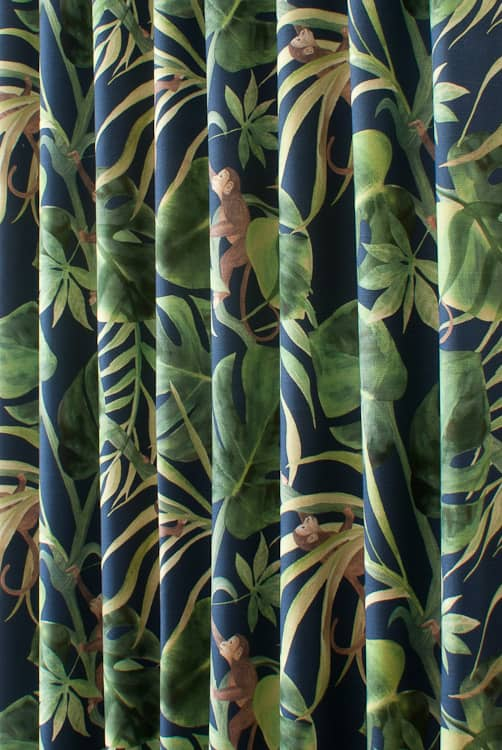Monkey Business Indigo Curtain Fabric