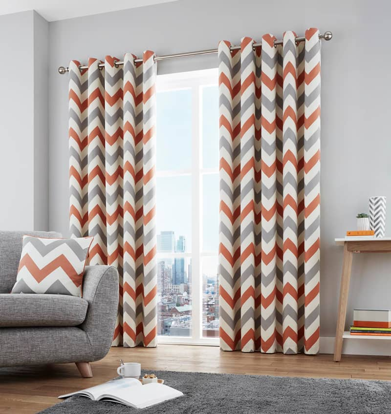 Chevron Terracotta Ready Made Curtains